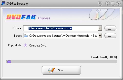 DVDFab Decrypter Screen