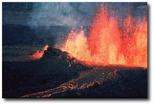 A volcanic fissure and lava channel.
