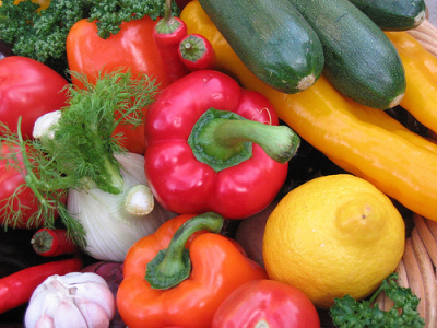 Fresh vegetables are common in a healthy diet.