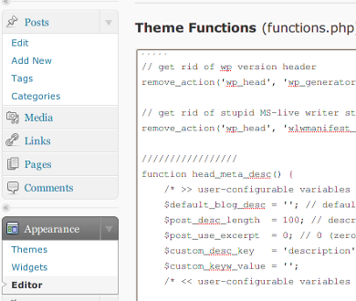 Fig.01: WordPress Themes Editor